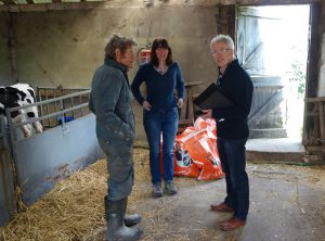 Clare and Nick with Peter and the calves
